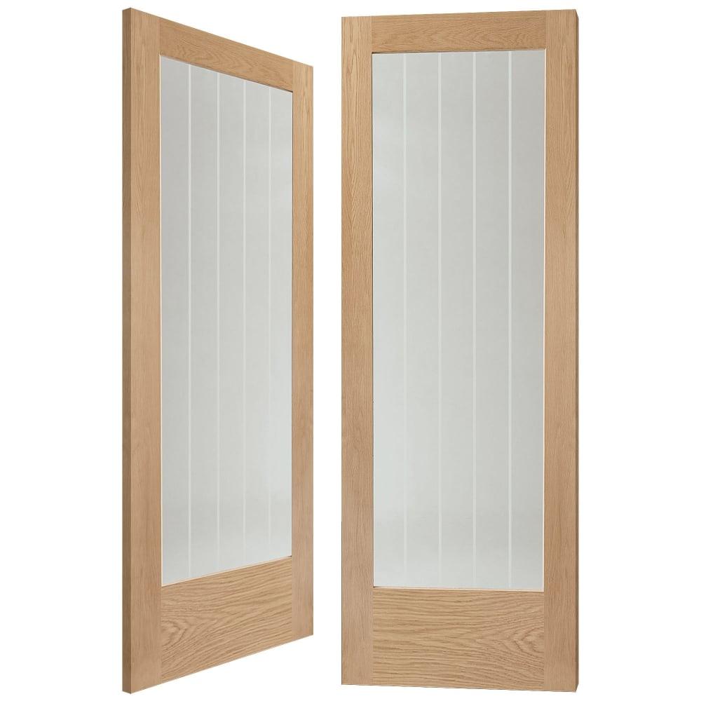 Internal Oak Suffolk Pair Door with Clear Etched Glass  sc 1 st  Leader Doors & XL Joinery Suffolk Oak Un-Finished Clear Decorative Glass Internal ...