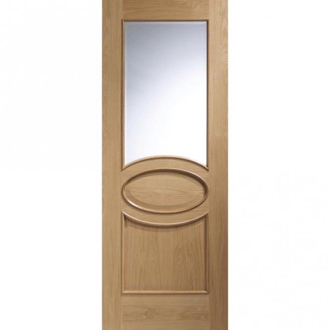 Xl Joinery Internal Oak Unfinished Calabria Glazed Door Leader Doors