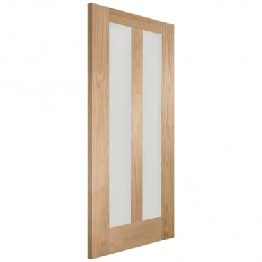 Internal Oak Unfinished Novara 2L Door with Clear Glass