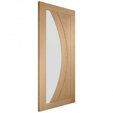 Internal Oak Unfinished Salerno 1L Door with Clear Glass