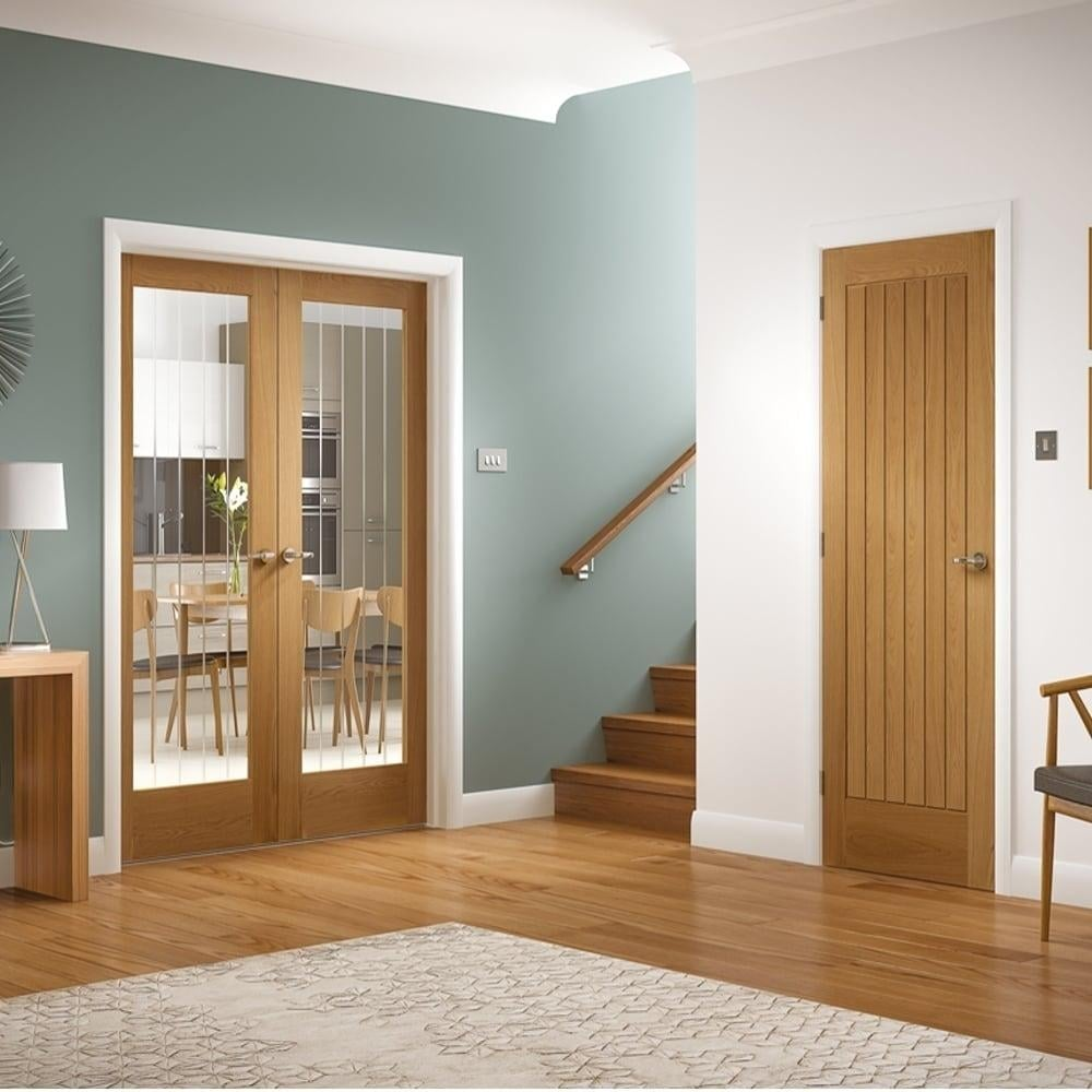 Internal Oak Unfinished Suffolk 2L Pair Door with Etched Clear Glass & XL Joinery Internal Oak Unfinished Suffolk Glazed Door | Leader Doors