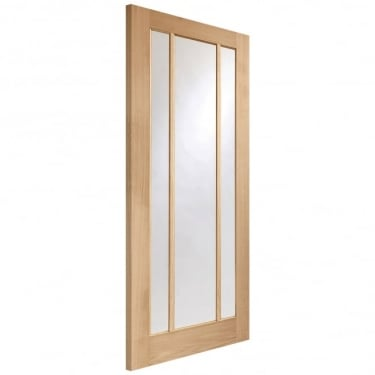 Internal Oak Unfinished Worcester 3L FD30 Fire Door with Clear Glass