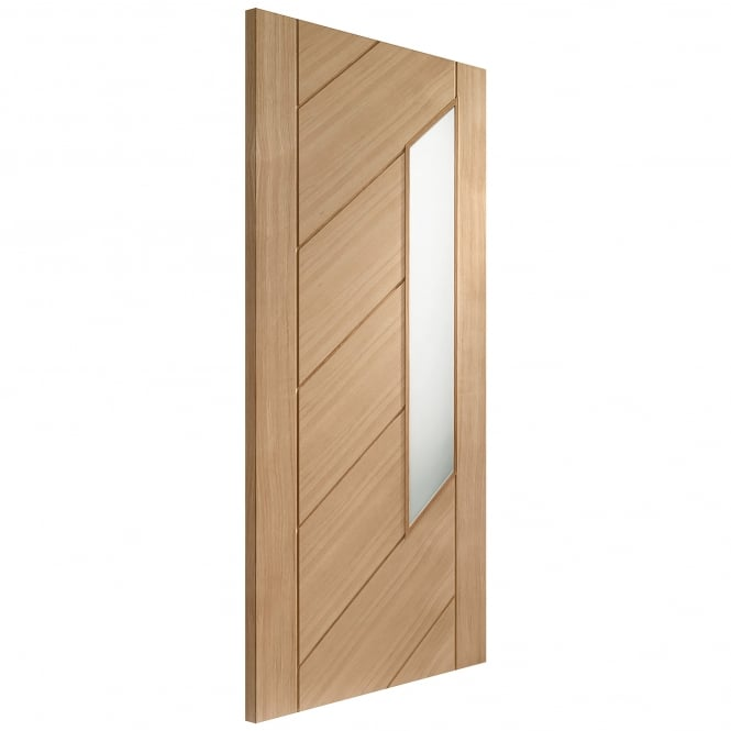 XL Joinery Internal Un-Finished Oak Monza Door with Obscure Glass