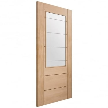 Internal Un-Finished Oak Palermo 2XG Door with Clear Etched Glass