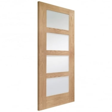 XL Joinery Internal Un-Finished Oak Shaker 4 Panel Door with Clear Glass