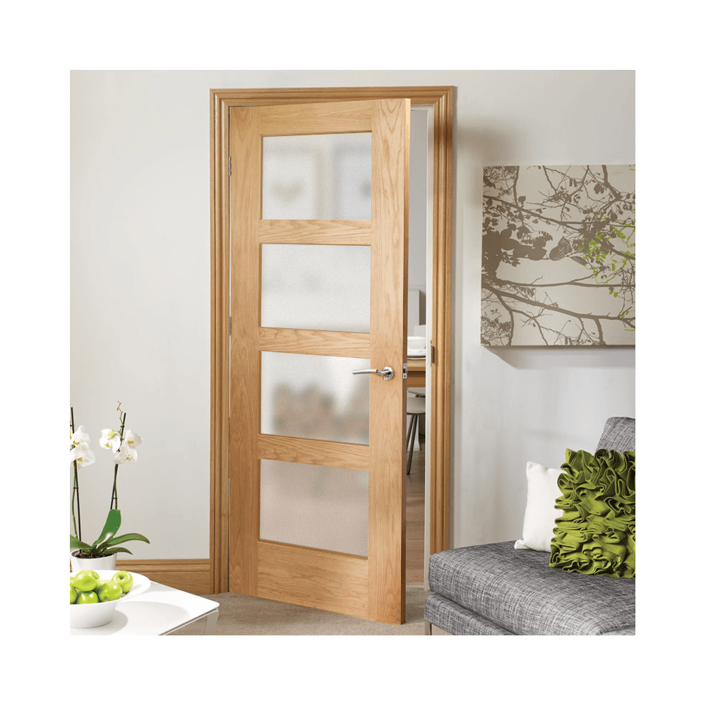 Xl joinery shaker oak un finished obscure glass internal door internal unfinished oak shaker 4 panel door with obscure glass eventelaan Choice Image