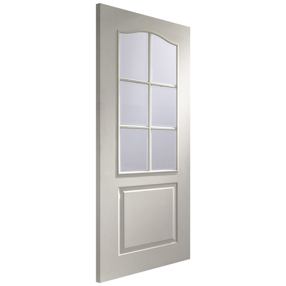 glass door. Internal White Moulded Unfinished Classique 6L Door With Clear Bevelled Glass