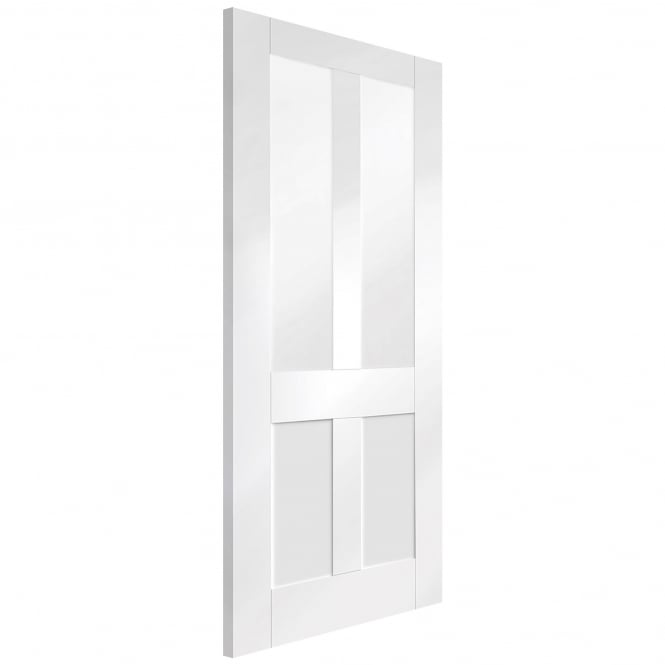 Internal White Primed Malton Shaker Door with Clear Glass