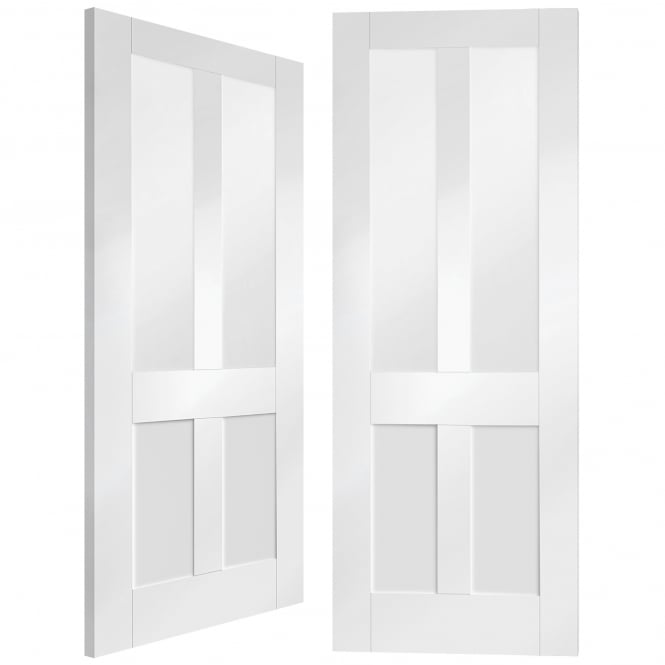 XL Joinery Internal White Primed Malton Shaker Pair Door with Clear Glass