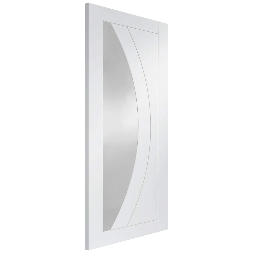 Internal White Primed Salerno Fire Door With Clear Glass