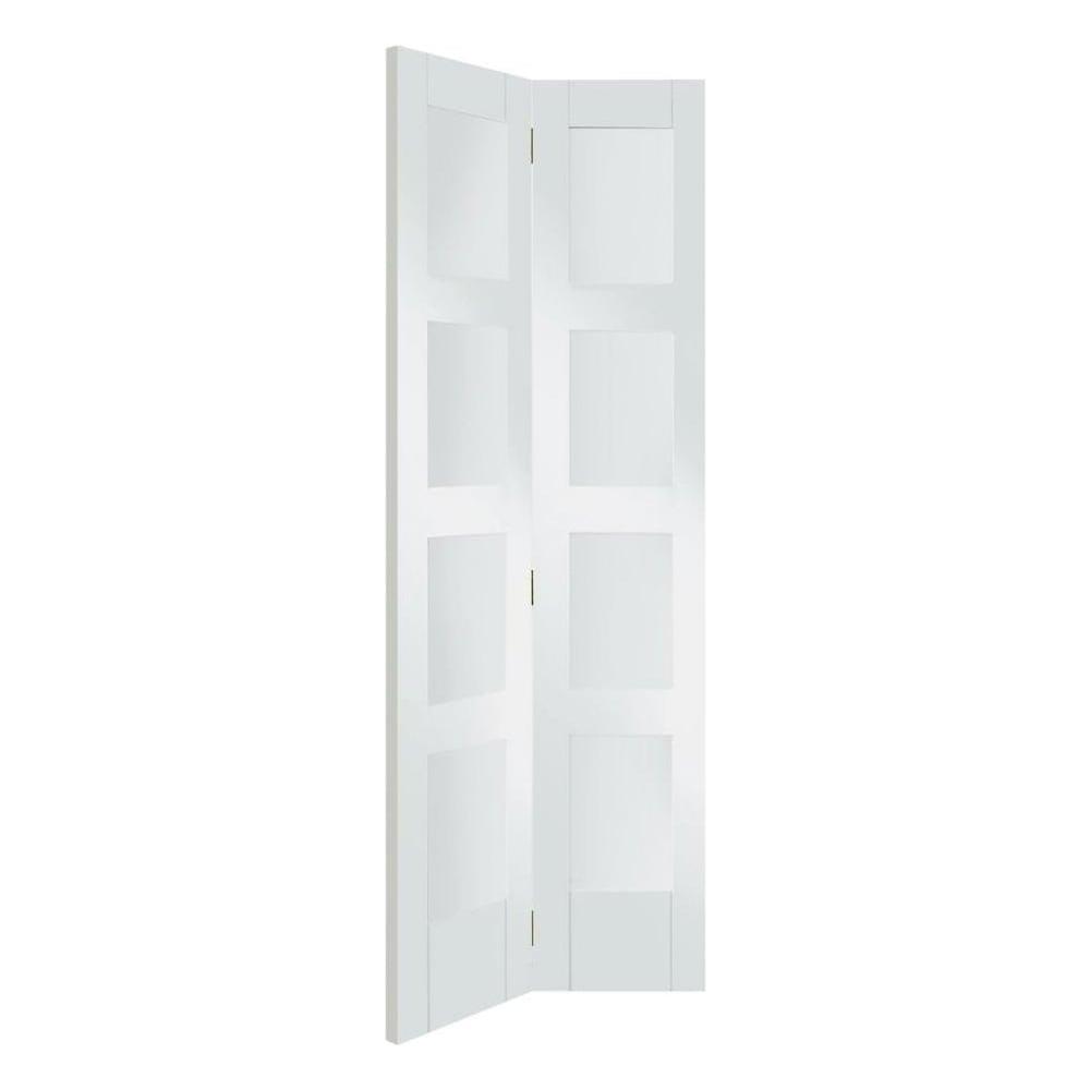 Xl joinery shaker white primed clear glass internal bi fold door leader doors - White glass panel internal doors ...