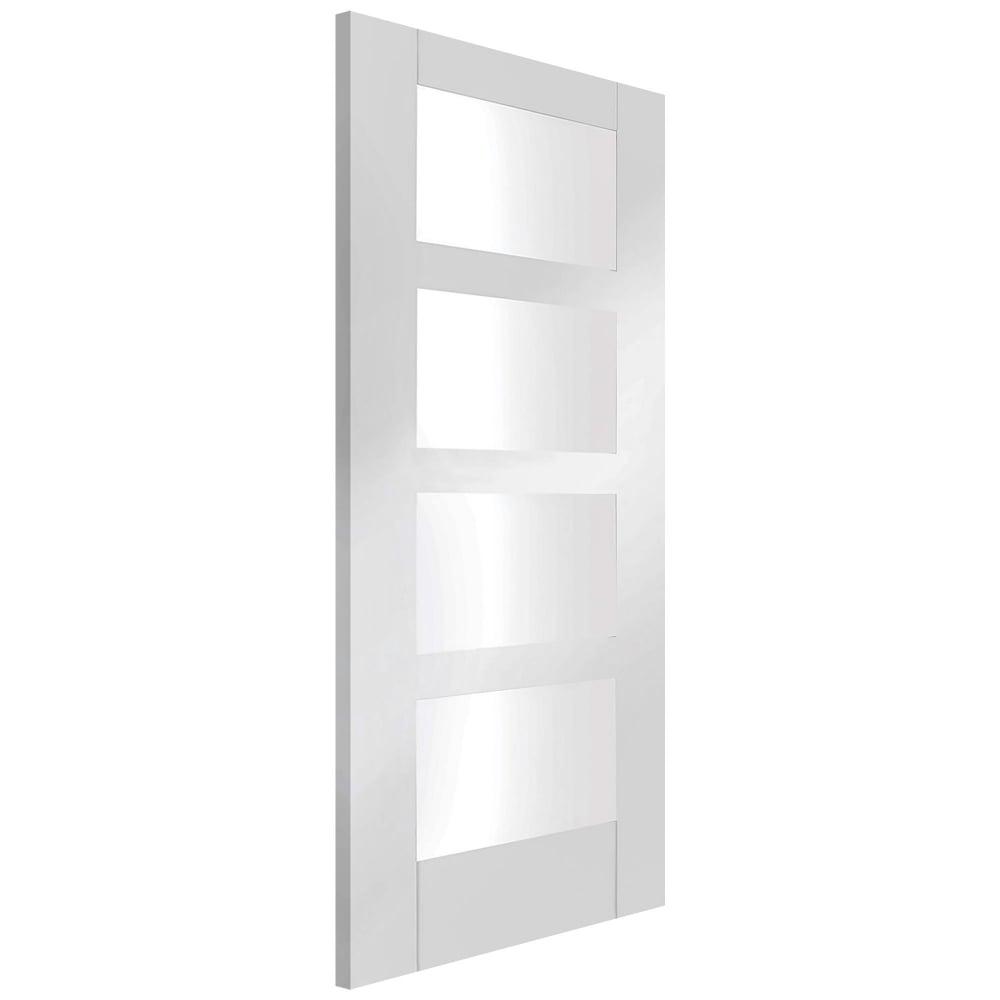 Xl joinery shaker white primed clear glass internal door leader doors - White glass panel internal doors ...