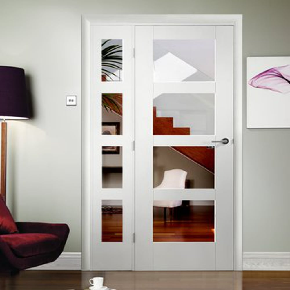 interior clear glass door. Internal White Primed Shaker 4L Door With Clear Glass Interior