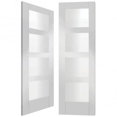 Internal White Primed Shaker Pair Door with Clear Glass