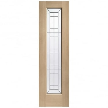 Malton Unfinished External Oak Sidelight With Triple Glass With Black Caming