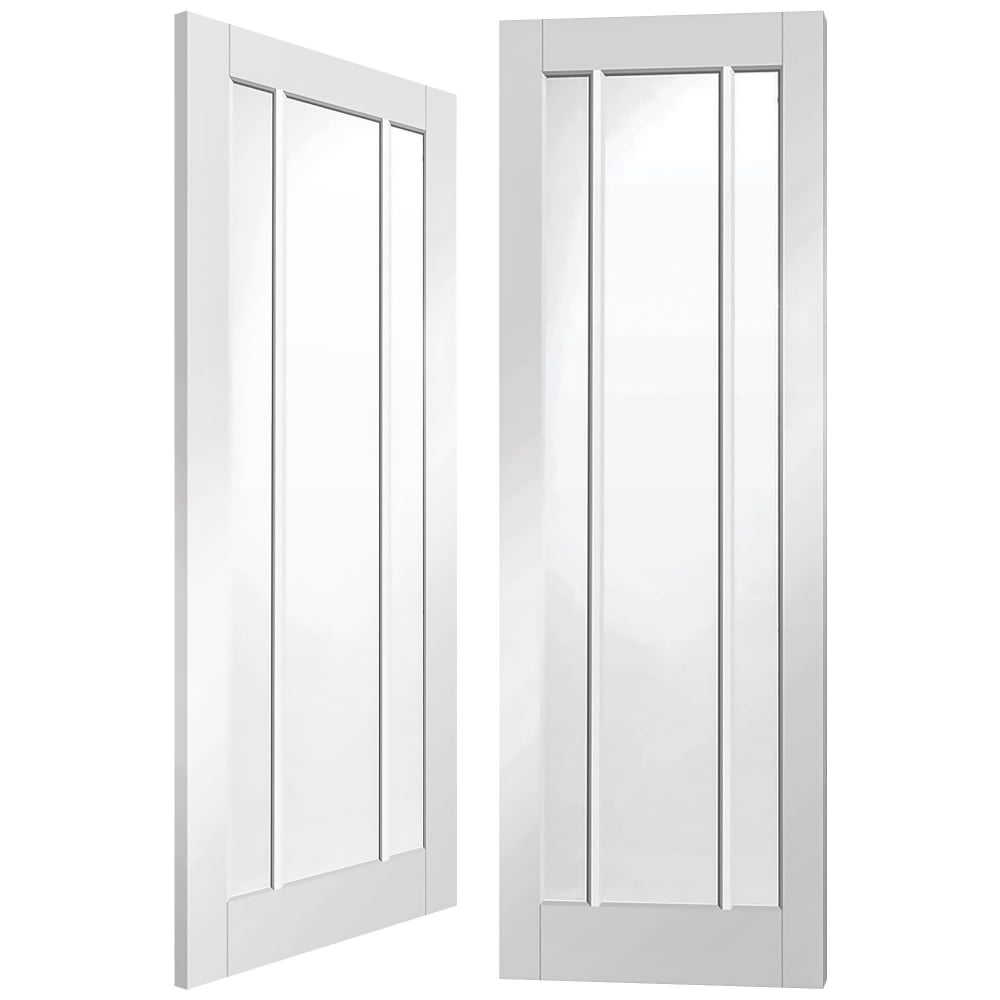 Worcester Internal White Primed Pair Door With Clear Glass  sc 1 st  Leader Doors & XL Joinery Worcester White Primed Clear Glass Internal Pair Door ...