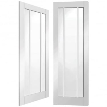 Worcester Internal White Primed Pair Door With Clear Glass
